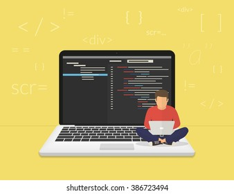 Man is sitting on the big laptop and working. Flat modern illustration of young programmer coding a new project using computer