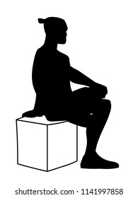 Man sitting on box with one foot up on knee. Stencil. Concept. Vector illustration of black silhouette of man isolated on white background. Monochromatic minimalism.
