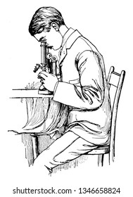 A man sitting on chair and looking into microscope, vintage line drawing or engraving illustration