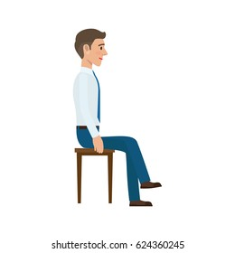 Man sitting on the chair in suit side view. Man at endless work seven days a week. Working moments at the office. Vector illustration of sitting person on chair isolated on white background