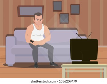 A man is sitting on the couch watching TV and frowning