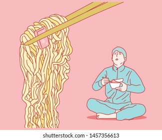 A man sitting on the floor and eating instant ramen. Close-up of chopsticks picking up noodles. hand drawn style vector design illustrations.
