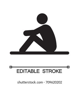 Man sitting on floor silhouette icon. Waiting. Isolated vector illustration. Doing sit up. Taking rest. Editable stroke