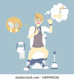 man sitting on flush toilet, using mobile phone with bacteria, thinking about wash his hands, health care, germ, sanitation defecate concept, vector illustration cartoon flat character design