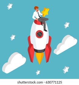 The man is sitting on the rocket and holding the star. Start up isometric concept. Business work award. Successful human vector illustration.