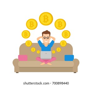 man sitting on the sofa with laptop and minig bitcoin digital currency