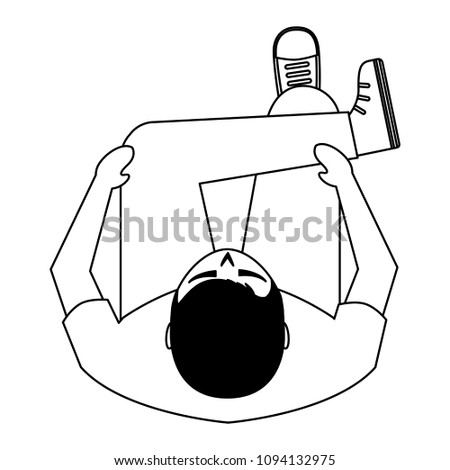 Man Sitting On Sofa View Above Stock Vector Royalty Free