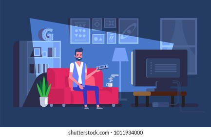 Man sitting on sofa and watching tv Vector illustration in flat style.