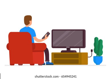 Man sitting on sofa and watching tv. Flat style vector illustration isolated on white background.