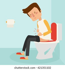 man sitting on the toilet. he is suffering of a diarrhea and a stomach upset. Vector illustration isolated on white background