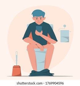 Man sitting on toilet with mobile phone vector isolated. Person in restroom. Funny illustration, guy in lavatory.