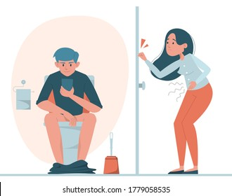 Man sitting on toilet with mobile phone vector isolated. Person in restroom. Funny illustration, guy in lavatory and woman waiting at the door. Girl need to pee, but the toilet is locked.
