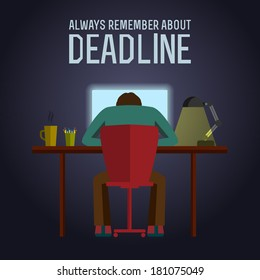 Man sitting at the table at night before the deadline poster