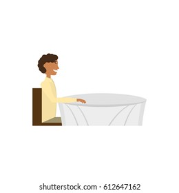 man sitting table waiting