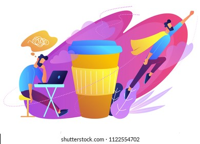 A man sitting tired at the desk and another flying full of energy after cup of coffee. Coffee break, low energy, tiredness, energizing concept, violet palette. Vector illustration on white background.