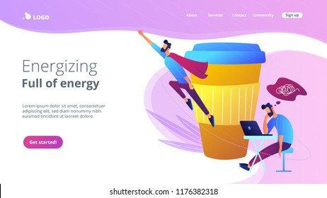 A man sitting tired at the desk and another flying full of energy after cup of coffee. Coffee break, low energy, tiredness, energizing concept, violet palette. Website landing web page template.