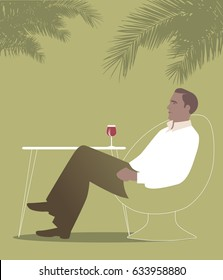 Man sitting under the palm trees in a bar. Drinking red wine. Summer Scene