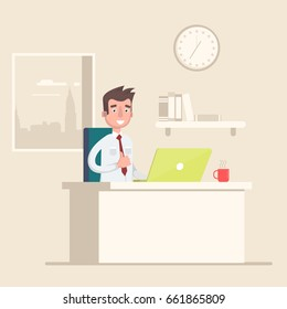 A man is sitting at the workplace in the office. Vector illustration in a flat style