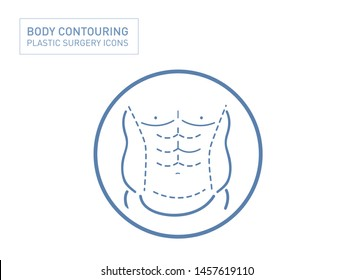 Man six pack abs line with liposuction and body contouring
