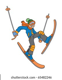 Man is skiing cartoon vector illustration