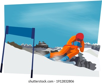 a man skiing on the mountains 2