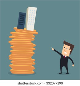 man skyscraper on coins real estate investment concept vector
