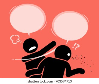 A man slaps his friend for talking nonsense. He is angry about his friend's shallow minded thinking and is surprised by how stupid and idiotic he was. He ask him to shut up and shut his mouth now.