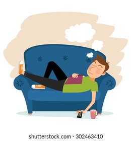 Man sleep on sofa. Couch and male, person adult, relaxation indoor. Vector illustration
