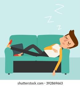 Man sleep on sofa. Vector illustration