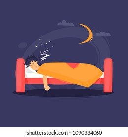 Man is sleeping in the bed. Flat design vector illustration.