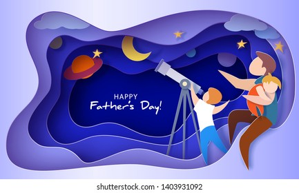 Man with sleeping daughter and son looking through telescope . Happy father's day card. Paper cut style. Vector illustration