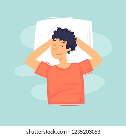 Man is sleeping. Head rests on the pillow. Flat vector illustration in cartoon style.