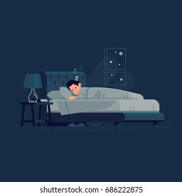 Man sleeping in his bed. Flat vector illustration on man sleeping peacefully at night in his bedroom with bedside table, nightstand lamp and alarm clock