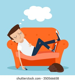 Man Sleeping at Home on Sofa. Vector Illustration