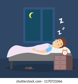 Man sleeping at night in his bed. Lying in comfort on the pillow under blanket. Flat vector illustration