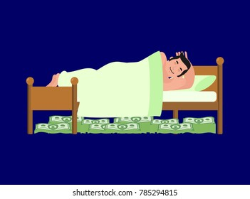 Man is sleeping on bed. Money Under bed,. Wealth. lot of cash. Lucky vector illustration