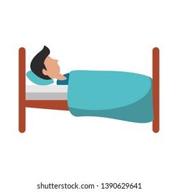 Man sleeping on bed sideview cartoon