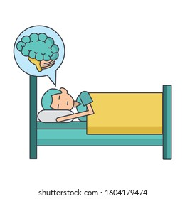 man sleeping on bed and speech bubble with brain icon over white background, vector illustration
