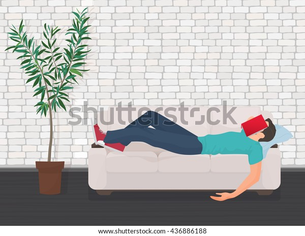 Excellent Man Sleeping On Couch Sofa Book Stock Vector Royalty Free Machost Co Dining Chair Design Ideas Machostcouk