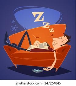 Man sleeping on sofa. Household series vector illustration.