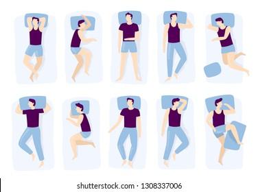 Man sleeping poses. Night sleep pose, asleep male positioning on bed and sleep position. Sleeping tired lying person or night posture. Isolated vector illustration icons set