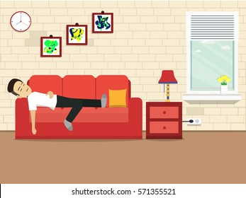 Man was sleeping with sofa with pictures with other things. illustration flat