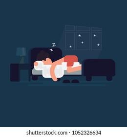 Man sleeping sweetly in his bed in him bedroom. Night time
