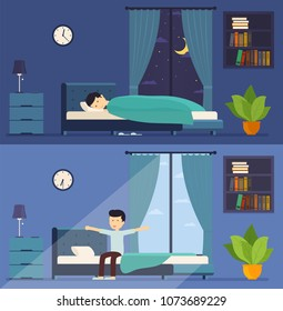 Man sleeps in bed at night and wakes up in the morning. Morning stretching in bed. Room with a window at night and morning.