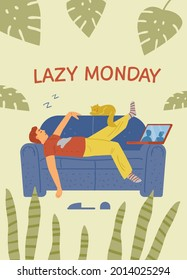 Man sleeps on couch with cat and laptop. Vector cartoon illustration of lazy Monday concept in flat style. Illustration of lifestyle.