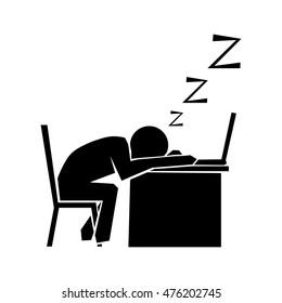 Man sleeps at work place