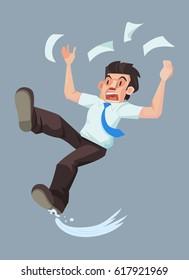 Man slip and falling on the wet floor, Vector illustration.