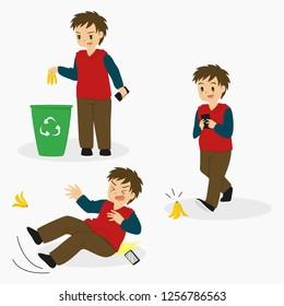 man slipped on banana peel, texting while walking, and putting away banana peel on trash can. cartoon vector set