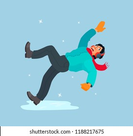 The man slipped on the ice, falls, waving his hands, scared. Dangerous ice, slippery winter road. Boy in a down jacket, scarf, headphones, mittens. Vector cartoon colorful flat design illustration.
