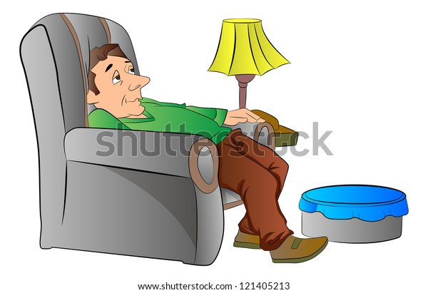 Man Slouching On Lazy Chair Couch Stock Vector Royalty Free